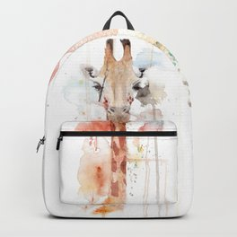 "Watercolor Painting of Picture ""Portrait of a Giraffe"" Backpack"