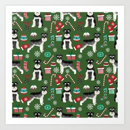 Black and silver schnauzer christmas print holiday xmas design Art Print