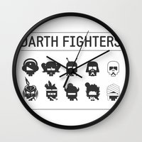 foo fighters Wall Clocks featuring Darth Fighters by Nillustra™