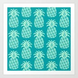 Retro Mid Century Modern Pineapple Pattern Mint Green and Teal 2 Art Print