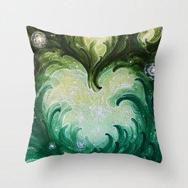 Green Heart Throw Pillow