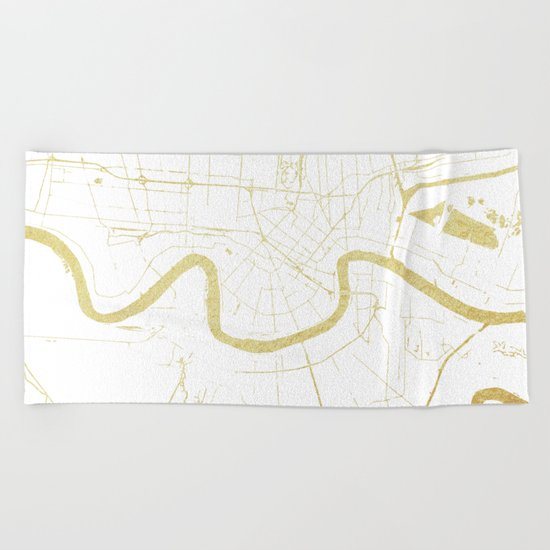 New Orleans White and Gold Map Beach Towel