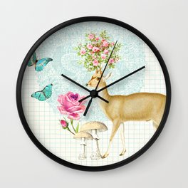 Doily deer Wall Clock