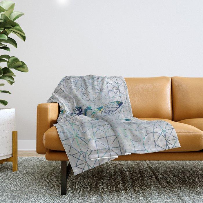 Gemstone Dragonfly on sacred geometry pattern Throw Blanket