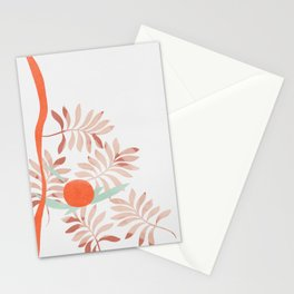 Red flowers and the sun with abstract shapes Stationery Cards