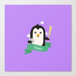 Baseball Penguin from TEXAS  T-Shirt for all Ages Canvas Print