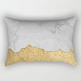 Gold torn & Grey marble Rectangular Pillow
