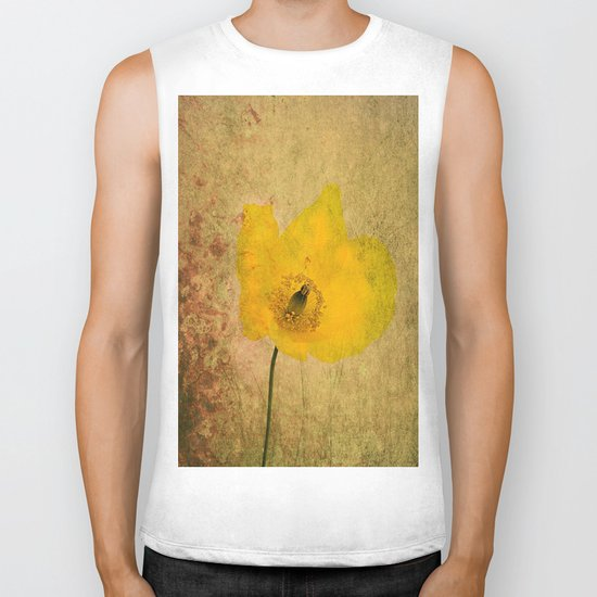 Antique Yellow Flower Biker Tank