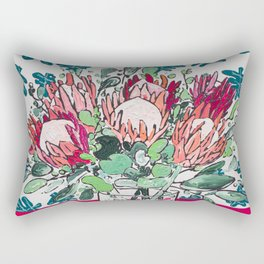 Bouquet of Proteas with Matisse Cutout Wallpaper Rectangular Pillow