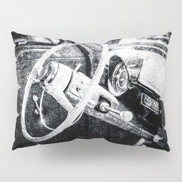 Vintage Car Interior Black White Pillow Sham
