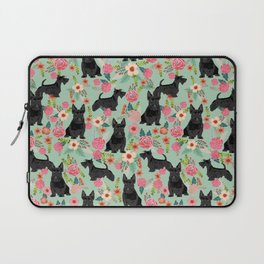 Scottish Terrier florals pattern dog breed dog art pet portraits pet friendly scottie gifts Laptop Sleeve