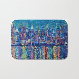 """New York - The City That Never Sleeps"" Palette Knife City Landscape by Adriana Dziuba Bath Mat"