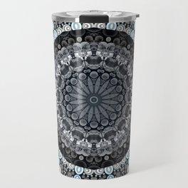 Dark Blue Grey Mandala Design Travel Mug