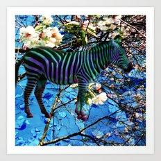 zebras grazing flowers Art Print