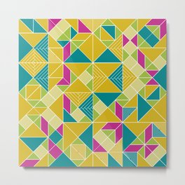 Tangram tiles in green Metal Print