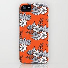 Orangey Gray Floral iPhone Case