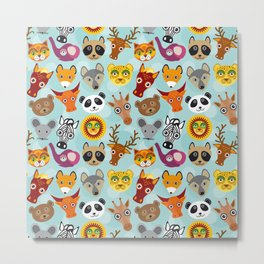 pattern with funny cute animal face on a blue background Metal Print