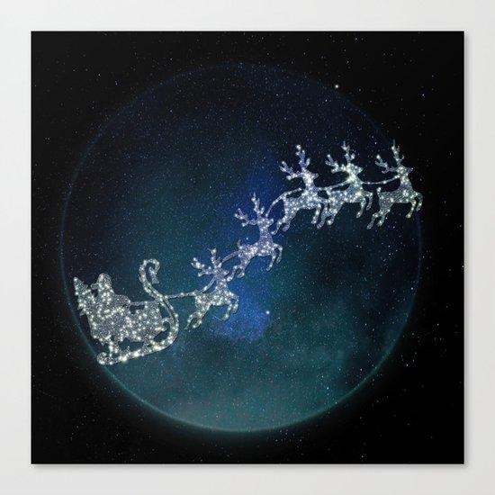 Santa on his Glitter way Canvas Print