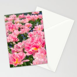 Blue forget-me-nots with pink tulips mix Stationery Cards