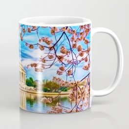 Spring Japanese Cherry Blossoms at the Jefferson Memorial Landscape by Jeanpaul Ferro Coffee Mug