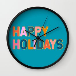Colorful Happy Holidays Typography Wall Clock