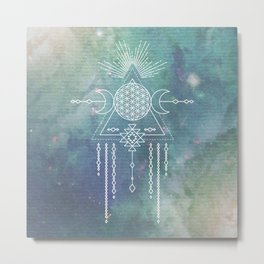 Mandala Flower of Life in Turquoise Stars Metal Print