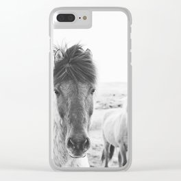 Black and White Horse Print Clear iPhone Case