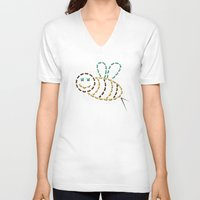 bee V-neck T-shirts featuring bee by gazonula