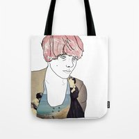introvert Tote Bags featuring introvert girl by Katharina Nachher