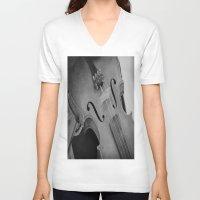 violin V-neck T-shirts featuring Violin by KimberosePhotography