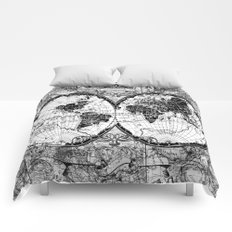 world map black and white Comforters