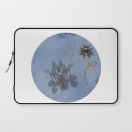 Embroidered Ghostly Bee With Anthotype Cicada Laptop Sleeve