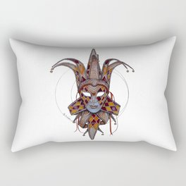 Male Venetian Jester Mask | Watercolor and Colored Pencil  Rectangular Pillow