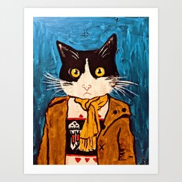 Cat Portrait Custom Acrylic on Canvas Painting  Art Print