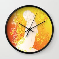 erotic Wall Clocks featuring Floral Beauty  by Stevyn Llewellyn