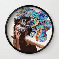 jane eyre Wall Clocks featuring Jane by Katy Hirschfeld