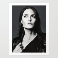 angelina jolie Art Prints featuring Angelina Jolie by Liliana Corradini