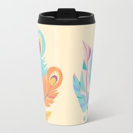 Stylized Peacock Feather Design Travel Mug