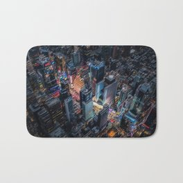Colorful Times Square Aerial View - New York City Landscape Painting by Jeanpaul Ferro Bath Mat