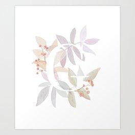 Rustic Wreath Monogram - Initial G Art Print