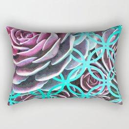 Purple Succulent Turquoise Geometric Rectangular Pillow