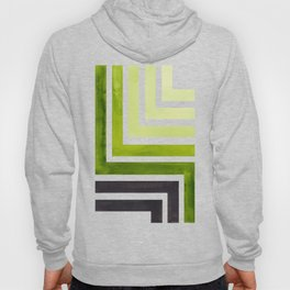 Sap Green Mid Century Modern Watercolor Colorful Ancient Aztec Art Pattern Minimalist Geometric Patt Hoody