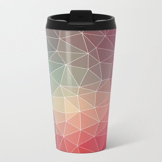 Abstract Geometric Triangulated Design Metal Travel Mug