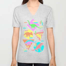 Nineties Dinosaur Pattern Unisex V-Neck
