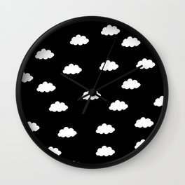 White clouds in black background Wall Clock