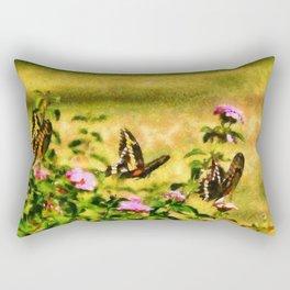Three Giant Swallowtails - Monet Style Rectangular Pillow