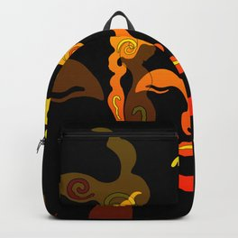 Illustration Buddha Head orange black design Backpack
