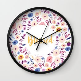 Blessed with Flowers Wall Clock