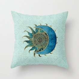 Sun And Moon Universe Celestial Art Gold And Turquoise Throw Pillow