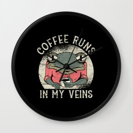 Coffee Quote funny Coffee runs in my veins Wall Clock